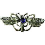 Edwardian Silver Dragonfly Brooch Pin With Blue Center Stone