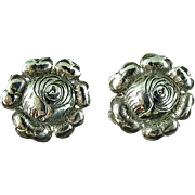 "Vintage 1"" Sterling Silver Flower Screw Back Earrings"