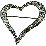 Vintage Sterling Silver Heart Brooch Pin With Rhinestones