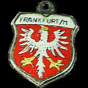 Vintage .800 Silver REU Frankfurt Travel Shield Enamel Charm