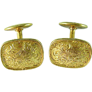 Antique Riker Bros. Art Nouveau 14k Gold Engraved Cuff Links