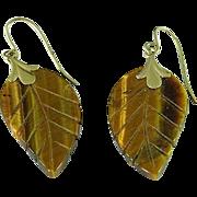Vintage 14K Gold & Carved Tiger Eye Leaf Earrings