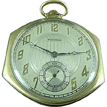Antique WALTHAM 12S Gold Filled 7J Pocket Watch Runs Year 1928 Funky Case