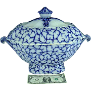RARE Staffordshire Flow Blue Cracked Ice Soup Tureen By Alcock Ca 1845