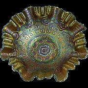 "Antique 8 1/2"" Fenton Captive Rose Carnival Glass Bowl Horshound (Amber) Ca.1905"