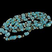 "Vintage 47"" Murano Venetian Italy Blue & Millefiori Bead Necklace"