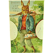 1910 Postcard Easter With Humanized Rabbit With Pop Outs