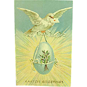 1910 Postcard Embossed Easter Dove In Flight With Egg Novelty Art Series 1257