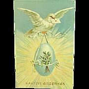 1910 Postcard Embossed Easter Dove In Flight With Egg Novelty Art Series 1257