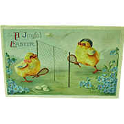 1910 Easter Embossed Postcard Chicks Playing Tennis International Art Publishing No. 1225