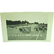 Real Photo Postcard Training Field At US Navy Training Camp Great Lakes Illinois 1947