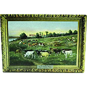 1908 Postcard Of a Painting by D D Coombs Calling The Cows Poland Spring Farm