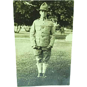 1915 Real Photo Postcard Of a WWI Soldier in Uniform