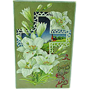 1909 Embossed Easter Postcard Big White Lilies & Cross