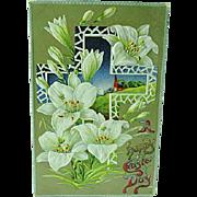 1909 Embossed Easter Postcard Big White Lilies & Cross