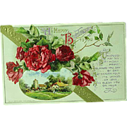 1912 Embossed Happy Birthday Postcard By John Winsch no. 234 Red Roses