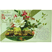 1912 Embossed Happy Birthday Postcard John Winsch No. 234 White Roses