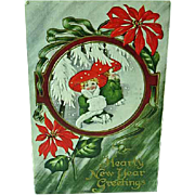 1911 Embossed New Years Postcard Lady In Big Red Hat