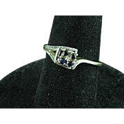 14k White Gold and Sapphire Ring Size 9