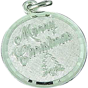 "7/8"" Sterling Silver Charm Pendant Merry Christmas"