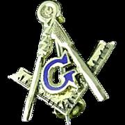 Vintage 10k Gold Masonic Compass & Square Lapel Pin