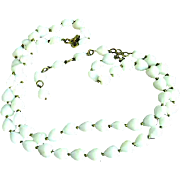 1950's Vogue Double Strand Faceted Heart Shaped Milk Glass Bead Necklace