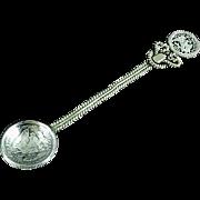 1885 Mexican Coin Souvenir Spoon 25 Centavos