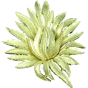 "Vintage 1950's Gold Tone 2 1/2"" Trifari Flower Brooch Pin"