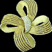 Vintage 1950's Gold Tone & Rhinestone Trifari Bow Brooch Pin