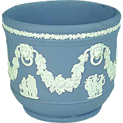 Blue Wedgwood Jasperware Flower Pot With Lion Faces