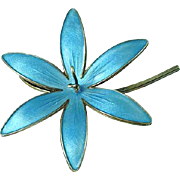 1940's Blue Guilloche Enameled Sterling Silver Brooch by Bernard Meldahl