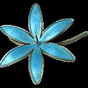 1940's Blue Guilloche Enameled Sterling Silver Brooch by Bernard Meldahl