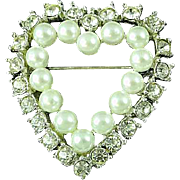 Vintage Richelieu Faux Pearl and Rhinestone Pave Rhodium Plate Heart Brooch Pin