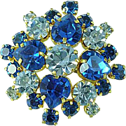 Fabulous Vintage 2 Color Blue Rhinestone Brooch Pin