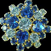 Fabulous Vintage 2 Color Blue Rhinestone Brooch Pin