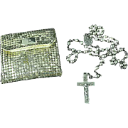 Vintage 1930's Sterling Silver Catholic Rosary With Original Metal Mesh Bag