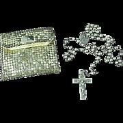Vintage 1930's Sterling Silver Catholic Rosary With Original Metal Mesh Bag
