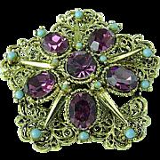 Vintage Amethyst Rhinestone & Turquoise Snowflake Brooch Pin