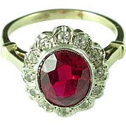 14k Gold Ring With 2 3/4 Carat Ruby Surrounded By Diamonds Estate Find