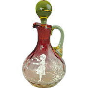 Rare Victorian Amberina Inverted Thumbprint Mary Gregory Glass Cruet