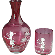 Mary Gregory Cranberry Glass Carafe With Tumbler