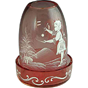 Mary Gregory Cranberry Glass Fairy Lamp Tea Light