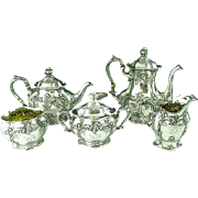Antique Gorham Sterling Silver 5 Piece Floral Tea Coffee Set