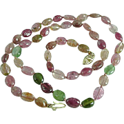 Vintage 14K Gold & Maine Watermelon & Green Tourmaline Bead Necklace