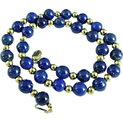 14K Gold & 8mm Blue Lapis Lazuli Bead Necklace