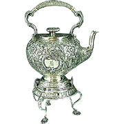Antique English Sterling Silver Tipping Tea Kettle With Stand Wm Hutton 1880