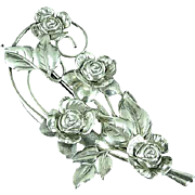 "Large 4"" Sterling Silver Floral Brooch Pin"