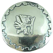 Vintage JVC Peruvian Sterling Silver Brooch Pin Pendant