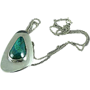 Vintage Sterling Silver and Malachite Green Necklace & Pendant Brooch Pin