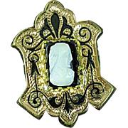 Antique Victorian Gold Filled Cameo Mourning Brooch Pin